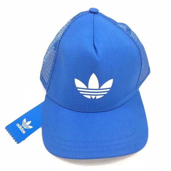 b571875e2b0 Adidas Originals Blue Trefoil Trucker Hat Snapback